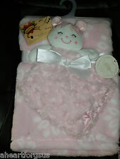 BLANKET & SECURITY GIRL KYLE DEENA LOT 2 ROSETTES PINK PLUSH COMBO BABY FLOWERS