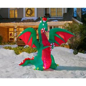 12 Ft ANIMATED DRAGON IN SANTA HAT Christmas AirblownYard  Inflatable