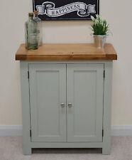 Camborne Painted Oak Linen Cupboard / Cabinet in Sea Green / Sage Storage Unit