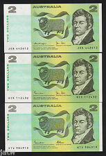 Australia R-87,88,89. 2 Dollars (1979-85). Knight/.Stone,Johnston/Stone,J/Fraser
