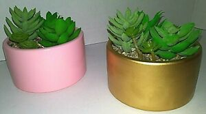 4-Inch Succulents Planter Decorative Round Pot Ceramic Gold Pink Home or Office