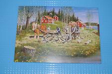 Ak neu Postkarte Schweden Jan Bergerlind Schwedenhaus Holz hacken Pferd Birken