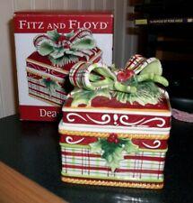 """Fitz Floyd 2009 Dear Santa candy box bow holly leaves 4"""" x 3 1/4"""" New Obox"""