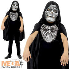 Grim Reaper Girls Boys Fancy Dress Kit Halloween Mask & Cape Childs Costume Set