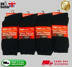 1,3,6, Pairs Mens Black Thermal Brushed inside Thick Warm Work Boot Socks 6-11