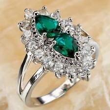 EMERALD & WHITE TOPAZ PEAR CUT .925 SILVER RING SIZE 8