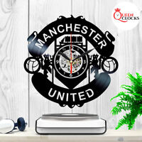 Manchester United Logo Emblem Vinyl Record Wall Clock Best Fans Gift Home Decor