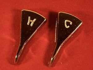Vintage Set Chrome Hot & Cold Faucet Handles 1950s 1960s Chrome Retro Universal