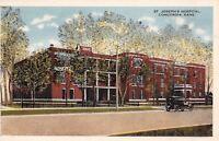 Concordia Kansas~St Joseph's Hospital~Car Parked the Wrong Way~Postcard 1920s