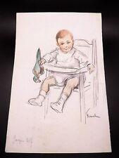 Fernand FERNEL Dessin Original SIGNÉ Portrait Enfant au Perroquet Années 1920