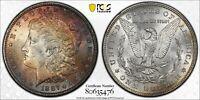 1887-P MORGAN SILVER DOLLAR PCGS MS63 COLOR RAINBOW TONED GEM UNC BU (DR)