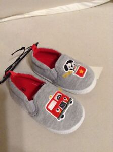 Toddler Slip On Shoes Gray with Fire Truck & Dog Size 4