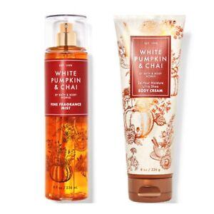 Bath and Body Works WHITE PUMPKIN & CHAI Fine Fragrance Mist and Body Cream