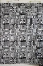 "Halloween Black White Day of the Dead  Poly Felt 65"" Wide  By 1/2 yard"