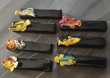 ensemble  de 7  Porte - Couteaux décor Poisson  Vallauris ? KITCH