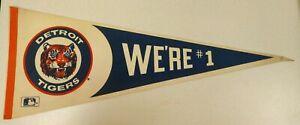 *RARE* Vintage 1980's Detroit Tigers We're #1 PENNANT Full Size MLB Licensed