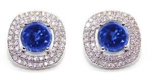 2.90Ct Natural Royal Blue Tanzanite & IGI Certified Diamond Studs In 14KT Gold