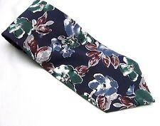 BLUE FLORAL Flowers NECK TIE 100% Silk Necktie Red Green Muted Made in USA