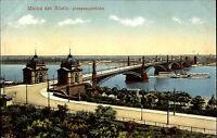 Mainz Rheinland-Pfalz AK ~1910 Brücke Fluß Rhein Panorama Rundblick Schiffe