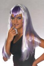 Long Purple Wig Silver White Hair Widows Peak Bangs Costume Adult Womens Rocker