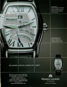 2006 Maurice Lacroix Jours Retrogrades Tonneau Swiss Watch Vintage Print Ad