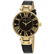 Anne Klein Black Dial Black Leather Ladies Watch 1396BMBK