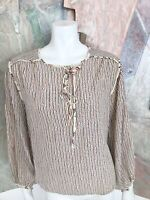 Vintage Mihang Silk Striped Art To Wear Pussybow Blouse Top 10