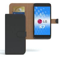 Tasche für LG K7 Case Wallet Schutz Hülle Cover Schwarz