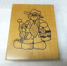 Daisy Kingdom Teddy bear Rubber stamp cat in pail Shy Clown 90s era Deep etching