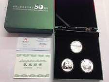 2011 CHINA SILVER WORLD WILD LIFE FUND ANNIVERSARY Elk PANDAS 3 COIN SET WWF 999