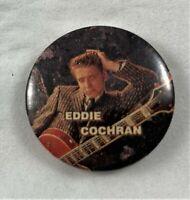 EDDIE COCHRAN VINTAGE METAL BUTTON BADGE FROM THE 1980's ROCK N ROLL