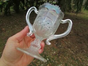 Fenton ORANGE TREE ANTIQUE CARNIVAL GLASS LOVING CUP~RARE WHITE GLASS~A BEAUTY!