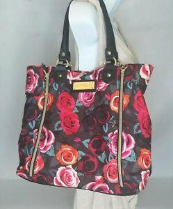 Betsy Johnson Handbag Purse Black Floral Pink and Red Roses Key Clip Gold Zipper