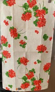 Vintage NOS Linen Tea Towel-Vera Neumann W/Tag-Geraniums-1960's /1970's