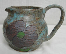 Hand Thrown Pottery Pitcher. Thick & Heavy. Flower. Turquoise and Brown. Signed