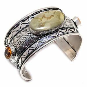Ocean Jasper, Honey Topaz Silver Jewelry Cuff Bracelet Adjustable MQR-927