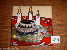 Ceramic Tile 6x6 Christmas Native American Pottery Candles L. Kuhne A17