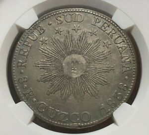1838 CUZCO MS South Peru Silver 8 Reales - NGC XF Details