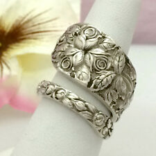 Sterling Silver Roses Spoon Ring BALTIMORE ROSE Size 7-12 Silverware Jewelry