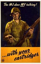 "Vintage American  Poster WW 2 ""The M-1 does My talking"""