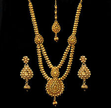 Indian Jewelry Long Necklace Ethnic Bollywood Earrings Haar Traditional Set d4