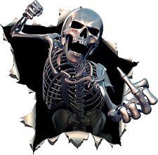 Skull Skeleton Middle Finger Giving Punch Knuckles Hit Sticker Fist Bike Car #36