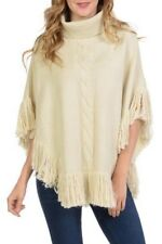 Fashion Women's Cable Pattern Pull Over Turleneck Light Beige Poncho With Fringe
