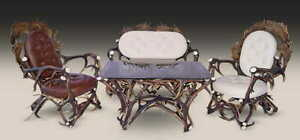 Antler Furniture Set Armchairs And Bench Geweihmöbel Set Sessel und Bank