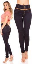 Koucla HighWaist Jeans  Skinny Damen Hose  Jeans mit Gürtel