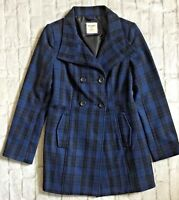 Old Navy Women's Blue Black Plaid Wool Blend Pea Coat Jacket Peacoat NWT Small S