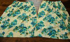 Vintage Pair Pinch Pleated Blue Aqua Flowered Fiberglass Curtains