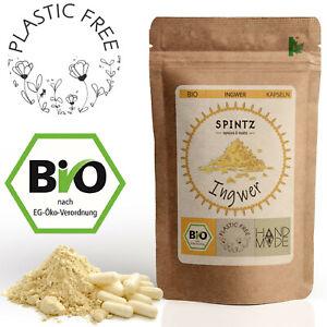 210 Bio Ingwer Kapseln - 500mg Ingwer Pulver p. Kapsel - 100% vegan