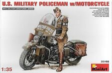 1/35 MiniArt 35168 - U.S. Military Policeman with Motorcycle   Plastic Model Kit
