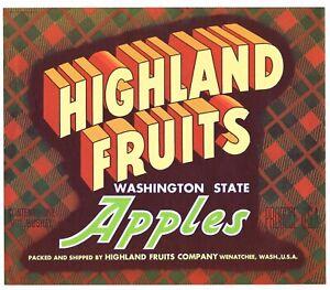 ORIGINAL VINTAGE APPLE CRATE LABEL WASHINGTON C1950S WENATCHEE HIGHLAND FRUITS